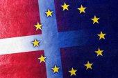 Denmark and European Union Flag painted on leather texture — Stock Photo