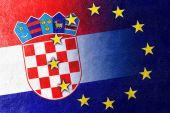 Croatia and European Union Flag painted on leather texture — Stock Photo