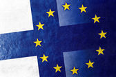 Finland and European Union Flag painted on leather texture — Stock Photo