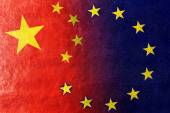 China and European Union Flag painted on leather texture — Stock Photo