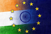 India and European Union Flag painted on leather texture — Stock Photo