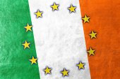 Ireland and European Union Flag painted on leather texture — Stock Photo
