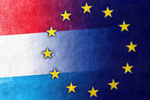Luxembourg and European Union Flag painted on leather texture — Stock Photo