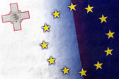 Malta and European Union Flag painted on leather texture — Stock Photo