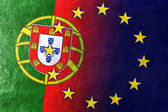 Portugal and European Union Flag painted on leather texture — Stock Photo