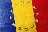 Romania and European Union Flag painted on leather texture — Stock Photo