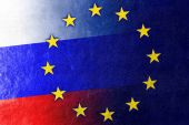 Russia and European Union Flag painted on leather texture — Stock Photo