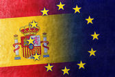 Spain and European Union Flag painted on leather texture — Stock Photo