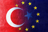 Turkey and European Union Flag painted on leather texture — Stock Photo