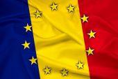 Vlající vlajka Rumunsko a Eu — Stock fotografie