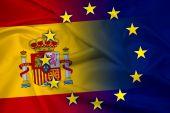 Waving Spain and European Union Flag — Stock Photo