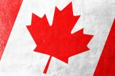 Bandera de canadá pintado en textura de piel — Foto de Stock