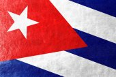 Cuba Flag painted on leather texture — Stock Photo