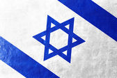 Israel Flag painted on leather texture — Stock Photo