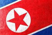 North Korea Flag painted on leather texture — Stock Photo