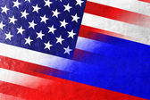 USA and Russia Flag painted on leather texture — Stock Photo