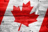 Bandera de Canadá pintado sobre fondo de tablón de madera antiguo — Foto de Stock