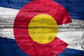 科罗拉多州旗画上旧木板纹理 — 图库照片