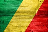Congo Republic Flag painted on old wood plank texture — Stock Photo