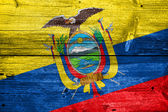 Ecuador Flag painted on old wood plank texture — Stock Photo