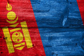 Mongolia Flag painted on old wood plank texture — Stock fotografie