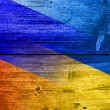 Ukraine and Russia Flag painted on old wood plank texture — Stock Photo #60068115