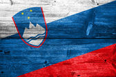 Slovenia Flag painted on old wood plank texture — Stock Photo