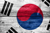 South Korea Flag painted on old wood plank texture — Stock Photo