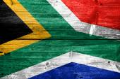 South Africa Flag painted on old wood plank texture — Stock Photo