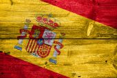 Spain Flag painted on old wood plank texture — Stock Photo