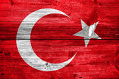 Turkey Flag painted on old wood plank texture — Stock Photo