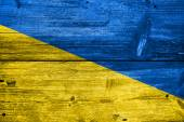 Ukraine Flag painted on old wood plank background — Stock Photo