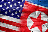 USA and North Korea Flag painted on old wood plank texture — Stock Photo