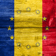 Romania and European Union Flag painted on old wood plank texture — Stock Photo #60119179