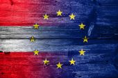 Austria and European Union Flag painted on old wood plank texture — Stock Photo