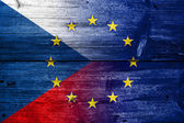 Czech Republic and European Union Flag painted on old wood plank texture — Stock Photo