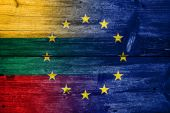 Lithuania and European Union Flag painted on old wood plank texture — Stock Photo