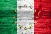 Italy and European Union Flag painted on old wood plank texture — Stock Photo