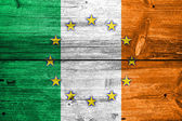 Ireland and European Union Flag painted on old wood plank texture — Stock Photo