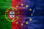 Portugal and European Union Flag painted on old wood plank texture — Stock Photo