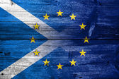 Scotland and European Union Flag painted on old wood plank texture — Stock Photo