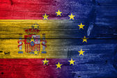 Spain and European Union Flag painted on old wood plank texture — Stock Photo