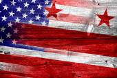 USA and Washington DC Flag painted on old wood plank texture — Stock Photo