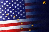 USA and Alaska State Flag painted on leather texture — Stock Photo