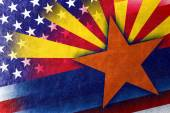 USA and Arizona State Flag painted on leather texture — Stock Photo