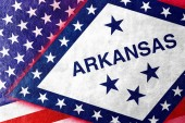 USA and Arkansas State Flag painted on leather texture — Stock Photo