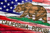 USA and California State Flag painted on brick wall — Stockfoto