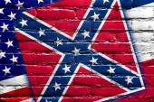 USA and Mississippi State Flag painted on brick wall — Stock Photo