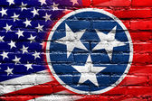 USA and Tennessee State Flag painted on brick wall — Stock Photo