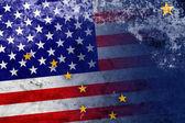 Сша и Аляска заявляют флаг со старинным и старым взглядом — Стоковое фото